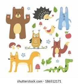 Cute forest animals set