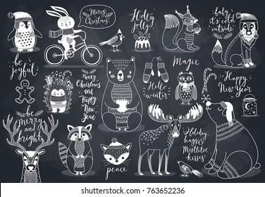 Cute forest animals set - chalkboard style.