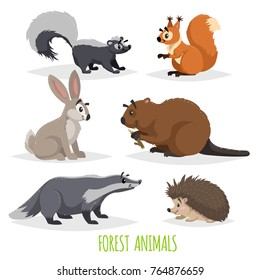 Cute forest animals set. Skunk, hedgehog, hare, squirrel, badger and beaver. Funny comic creature collection. Vector educational illstrations.