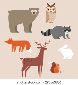 Cute forest animals vector set include bear, owl, fox, raccoon, deer, rabbit and squirrel. Vector illustration.