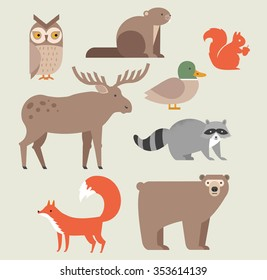 Cute forest animals vector set include bear, owl, fox, raccoon, elk, beaver, duck and squirrel. forest animals icons set vector illustration.