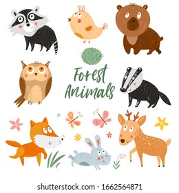 Cute forest animals. Vector woodland background. Hand Drawn kids cartoon characters: owl, bird, deer, bunny, bear, fox, racoon, badger. Nursery art decor. Smiling baby animals. Childish illustration.