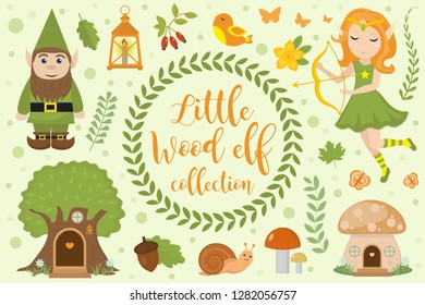 Cute forest elf character set of objects. Collection of design element with elven archer, dwarf, tree mushroom house, flowers, plants. Kids baby clip art funny smiling kit. Vector illustration.