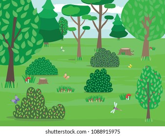 Cute forest glade with trees bushes, mushrooms, grass, butterflies and dragonflies. Vector illustration in flat design.