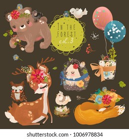 Cute forest, woodland animals collection. Baby bear, fox, bunny (rabbit), bird, hedgehog and deer. Floral bouquets, wreath, basket with flowers and eggs, branch and balloons