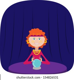 Cute fortuneteller with a crystal ball. Vector illustration.