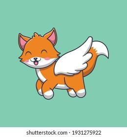 cute fox angel cartoon illustration