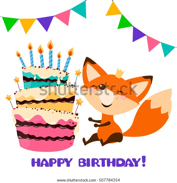 cute fox with Birthday Cake. Happy birthday card design.Vector holiday party template. Greeting postcard image. vector illustration