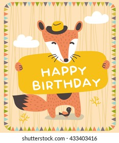 Cute Fox Birthday card design