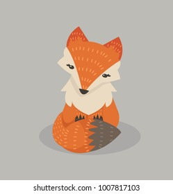 Cute fox cartoon Fox flat style