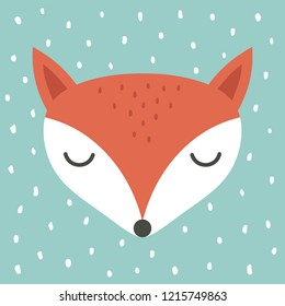 cute fox cartoon scandinavian illustration, cartoon animal portrait with sleepy fox face
