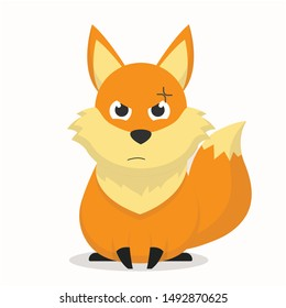 Cute fox character with an angry expression vector illustration,fox carton
