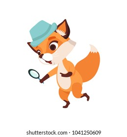 Cute fox character detective holding magnifying glass, funny forest animal vector Illustration on a white background