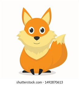 Cute fox character with a smile expression,fox cartoon