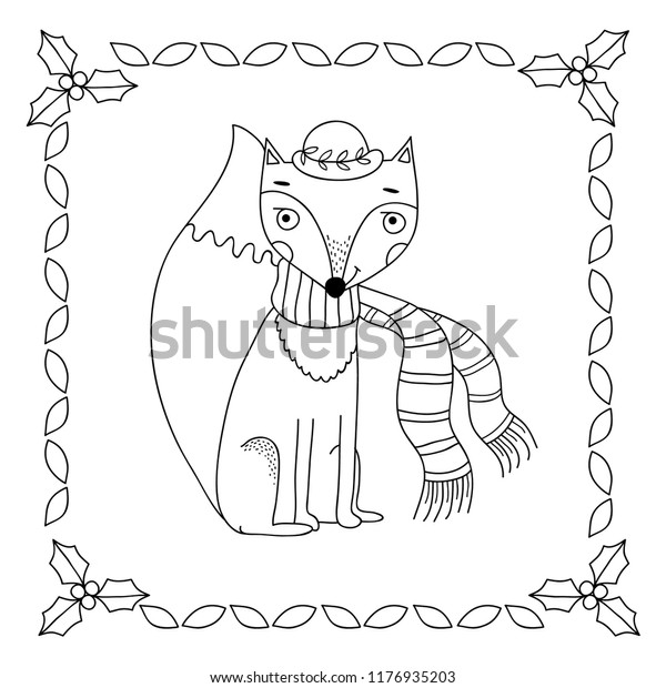 Cute Fox Coloring Book Illustration Winter Stock Vector ...