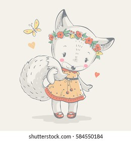 Cute fox in dress cartoon hand drawn vector illustration. Can be used for t-shirt print, kids wear fashion design, baby shower invitation card.