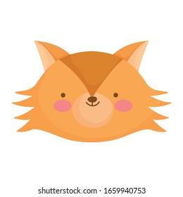 cute fox face animal cartoon character vector illustration