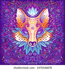 Cute fox face over psychedelic ornate pattern. Character tattoo design for pet lovers, artwork for print, textiles. Detailed vector illustration. Totem animal.