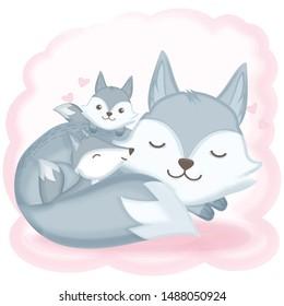 Cute fox family asleep hand drawn cartoon illustration background