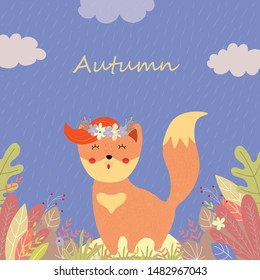 Cute fox in flower wreath with ginger forelock and stand among plants and leaves on field in rainy autumn day, Cartoon flat vector hand drawn illustration, scandinavian style, banner, greeting card