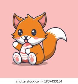 cute fox holding an egg