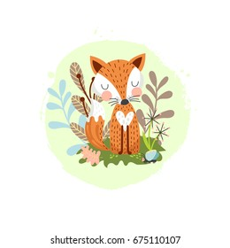 Cute fox on a background of plants and flowers. Child's illustration in vector.