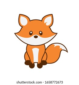 Cute Fox with Outline Vector Illustration on White