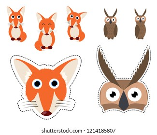 Cute Fox and Owl Vector Set of Icon and Carnival Mask for Childrens Masquerade.