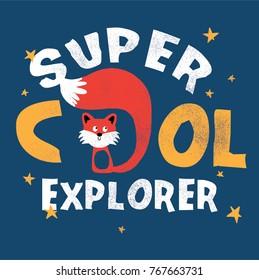 cute fox print design as vector for kids fashion
