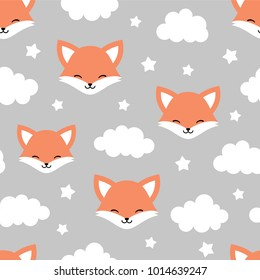 Cute Fox Seamless Pattern, Animal Background with Clouds for Kids