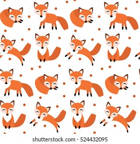 Cute fox seamless pattern. Foxy endless background, texture. Children's backdrop. Vector illustration