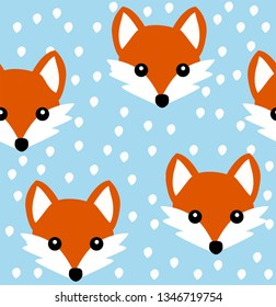 Cute fox seamless pattern. Vector background