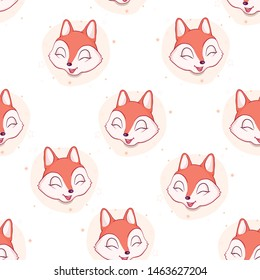 Cute fox seamless pattern. Vector illustration
