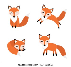 Cute fox set flat style. Foxy in different poses, sleeping, jumping, sitting. Character, mascot. Vector illustration