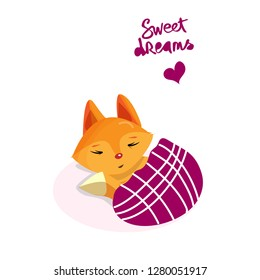 Cute fox is sleeping and wish sweet dreams.Lettering.Vector illustration for greeting card, t shirt, print, stickers, posters design.