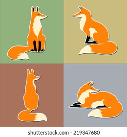 Cute fox sticker set, vector