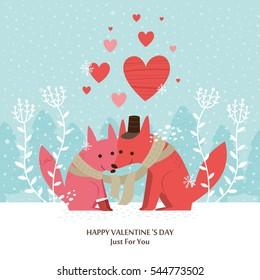 Cute fox Valentines day card. vector illustration.