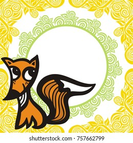 Cute fox. Vector illustration.