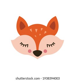 Cute fox. Vector illustration, eps on a white background.