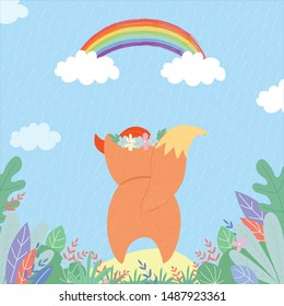 Cute fox watching on rainbow under summer rain. Funny little fox rear view in flower wreath back side, character for kids baby design. Cartoon flat vector hand drawn illustration, scandinavian style