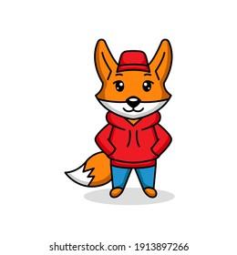 Cute fox wearing hoodie mascot logo design