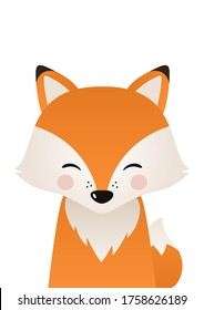 Cute fox. Woodland forest animal. Poster for baby room. Childish print for nursery. Design can be used for fashion t-shirt, greeting card, baby shower. Vector illustration.