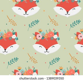 Cute foxes heads with flower crown, vector seamless pattern design for nursery, poster, birthday greeting card
