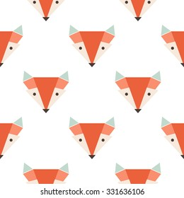 Cute foxes seamless vector pattern. Orange fox's head on white background
