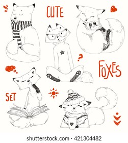 Cute Foxes set,doodle sketch collection, funny cartoon animals in caps,sweaters and scarfs.Little Fox embraces owl. Christmas design,winter pattern.Hand drawn vector illustration,decorative elements.