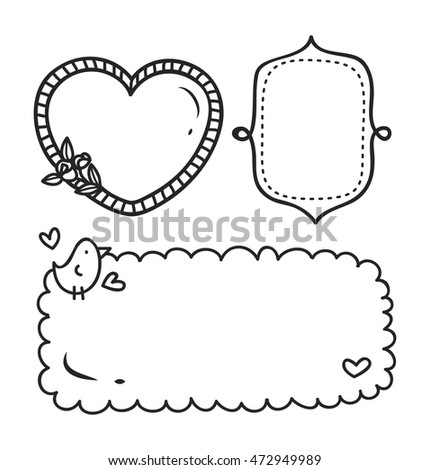 Cute Frame Doodle Style Stock Vector (Royalty Free) 472949989 ...