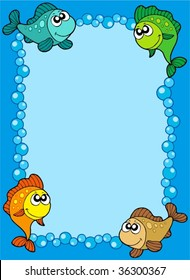 Cute frame with fishes and bubbles - vector illustration.
