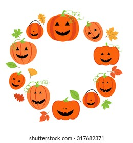 Cute frame for halloween with  pumpkins and colorful leaves