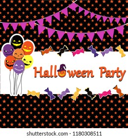 Cute Frame Halloween Theme of cheerful balloon, candy and flage on background. use to about poster, greeting card,advertion. put to text Halloween on background.