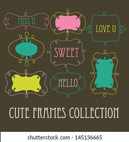 cute frames collection. vector illustration